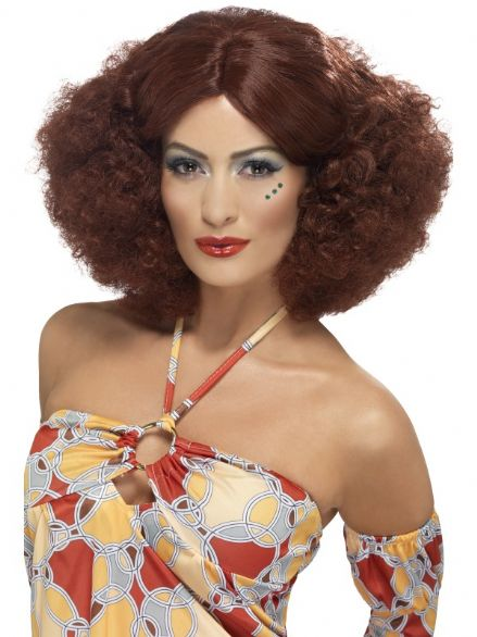 1970's Centre Parted Afro Wig In Brown